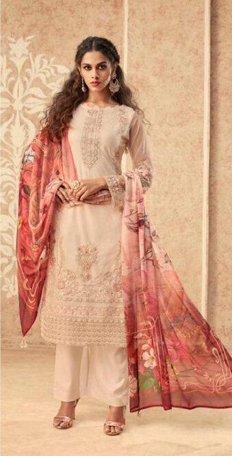 Best embroidered banglori silk with chiffon printed dupatta with price