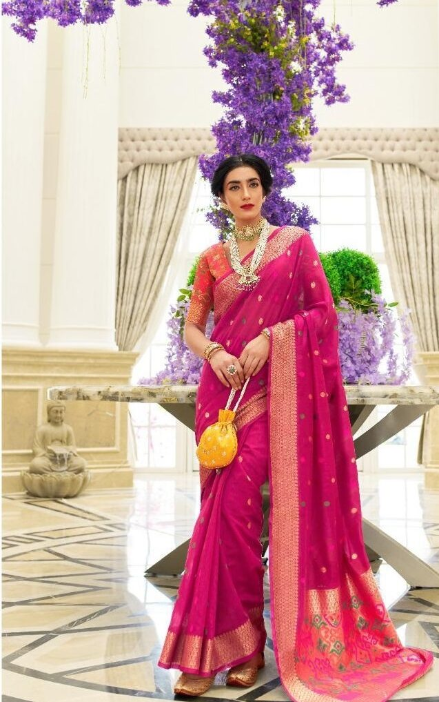 Best embroidered pink color silk saree with georgette blouse.