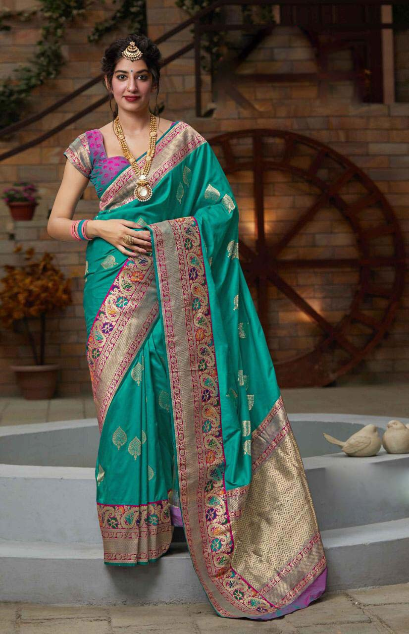 Best embroidered sky blue color silk wear saree with a price.