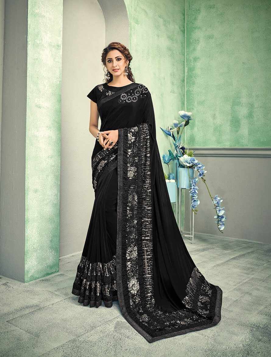 Best embroidery resham work saree with Georgette blouse
