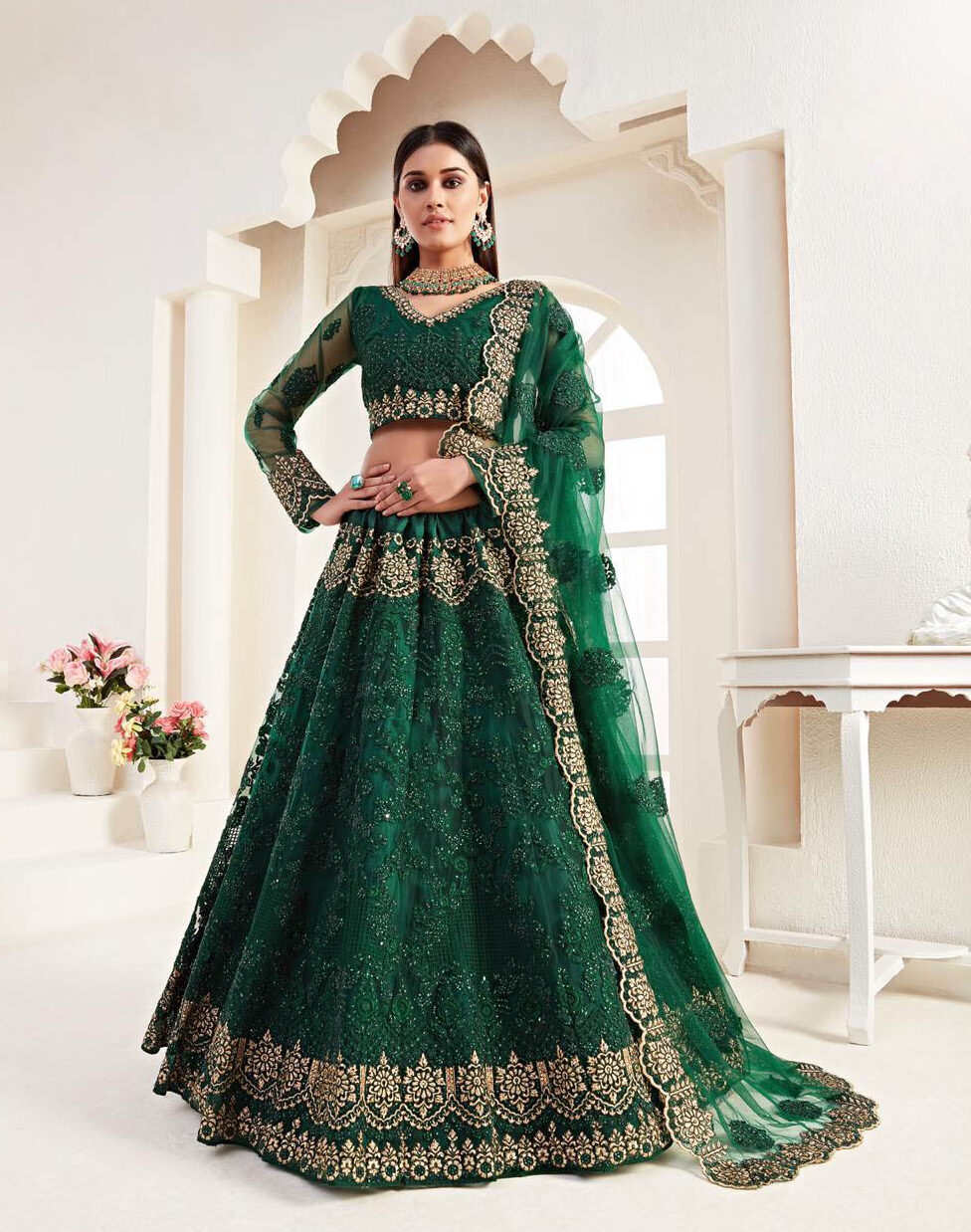 Best georgette green color satin silk bridal lehenga with a price.