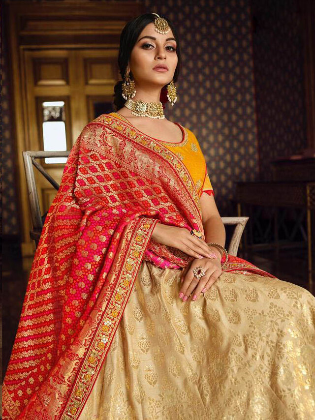 Current Inclination Maker White Color Lehenga With Yellow Blouse