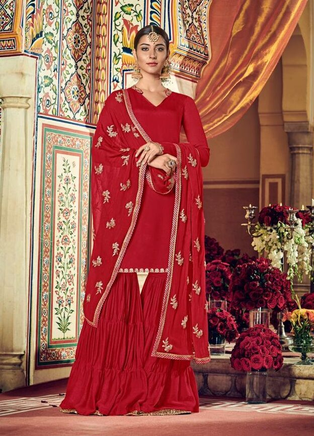 Designer Party Waer Sharara Suits in Red