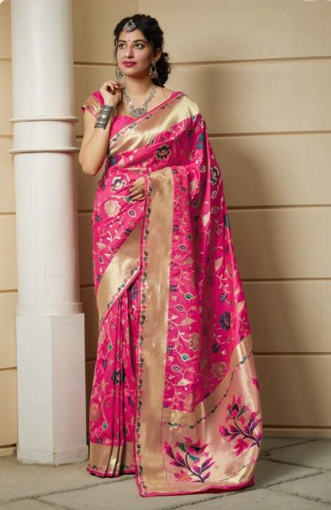 Floral Design Magenta Silk Saree with Golden Border
