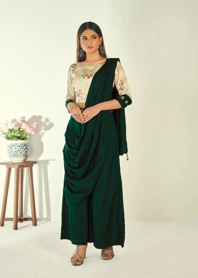Latest Style Creator Green Color Long Silk Kurti