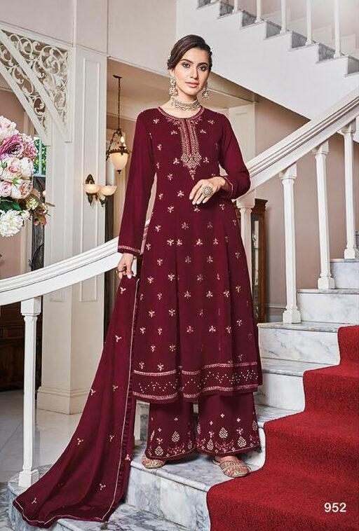 Maroon Colour Heavy Embroidered Karwa Chauth Special Sharara Suits