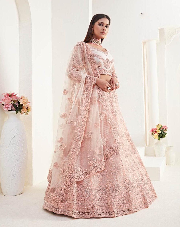 New Best embroidered light pink color satin silk bridal lehenga