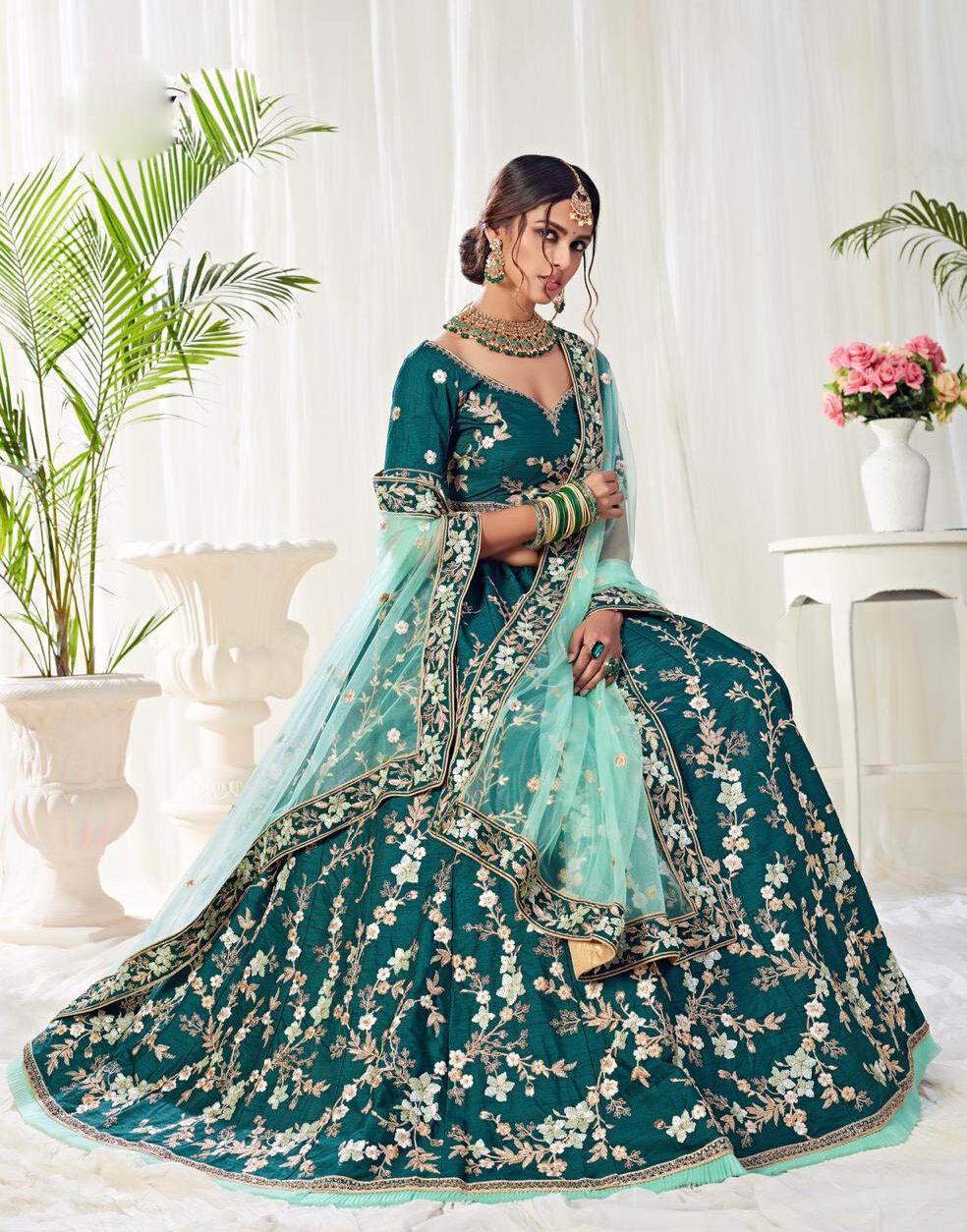 New Designer Blue color Banglori silk bridal lehenga