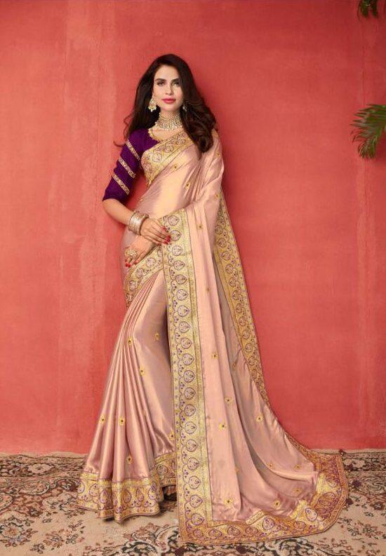 New Indian Model Maker Light Pink Color Martimony saree