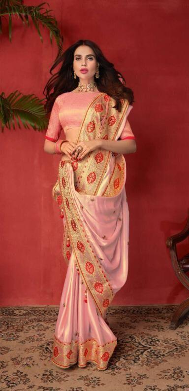 New Latest Bent Producer Light Pink Color Taffeta saree