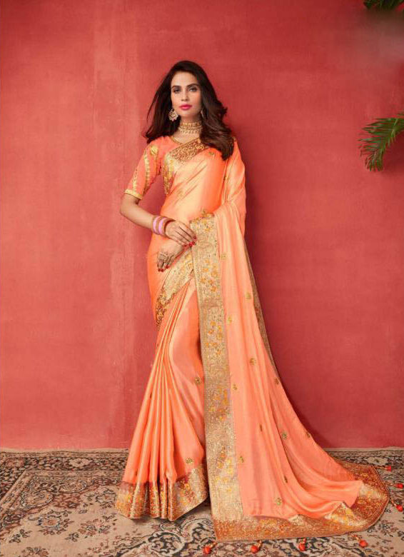 New Latest Blas Producer Orange Color Wedding saree
