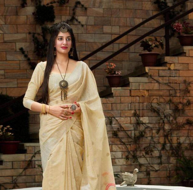 New designer cream color best georgette saree with a silk blouse.