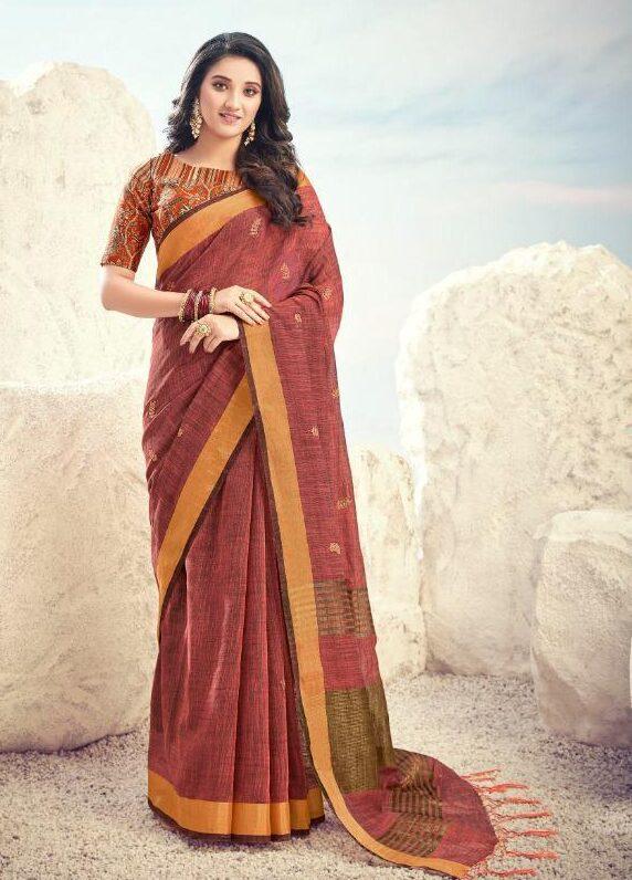 New designer light brown color saree with digital print blouse.