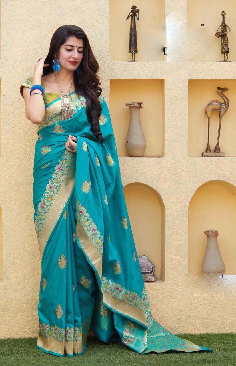 New designer sky-blue color traditional wear silk saree with blouse.