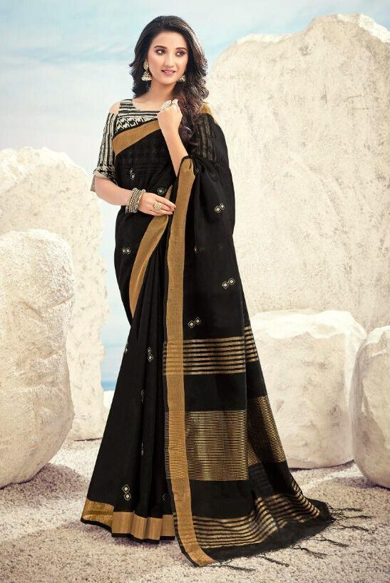New embroidered black color saree with a digital print blouse.