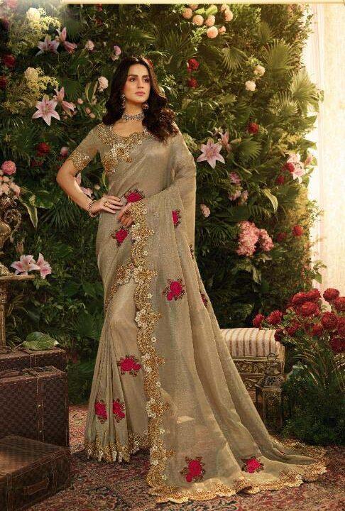 New trend designer best embroidered heavy silk saree with price