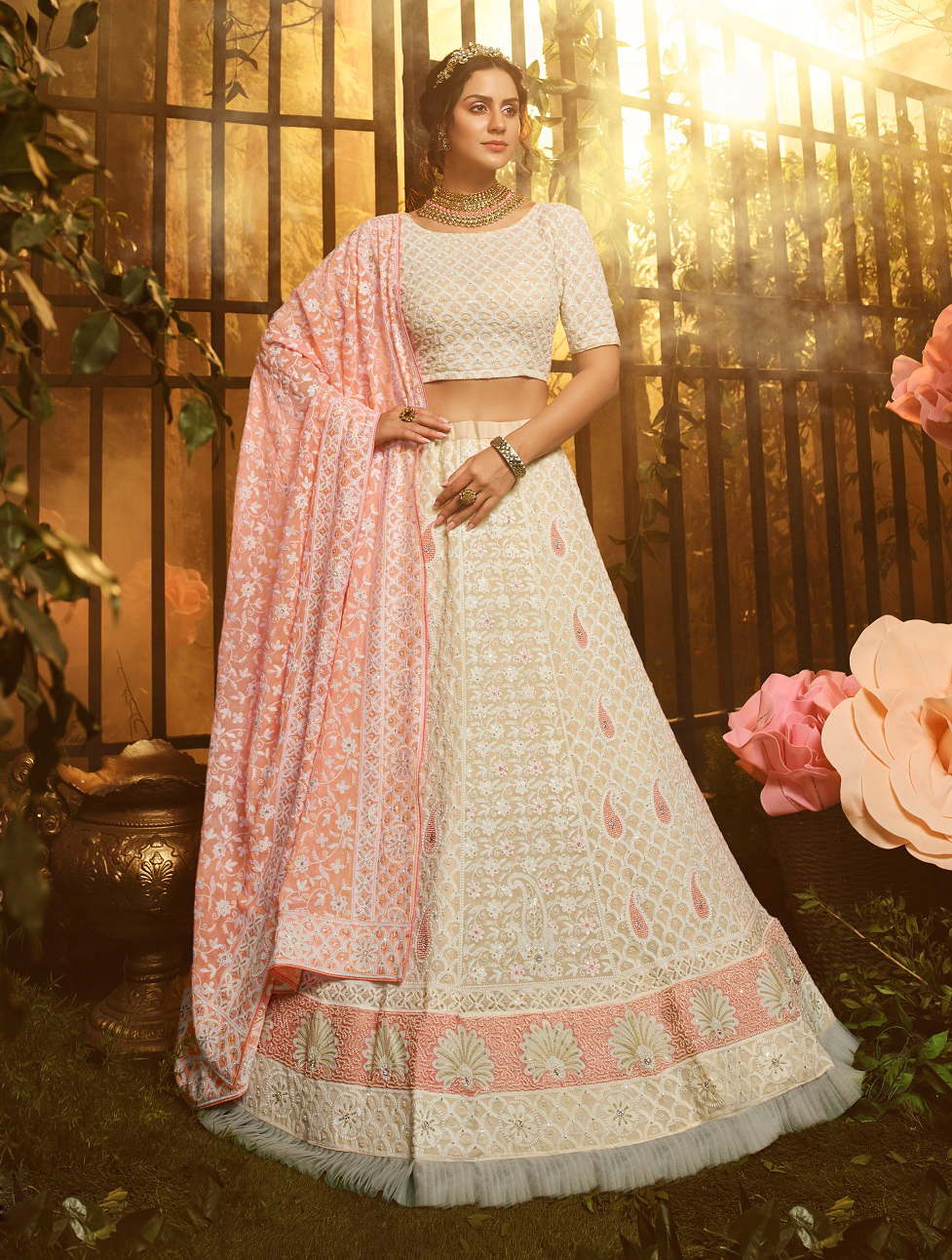 New designer best georgette white color gown with pink color dupataa.