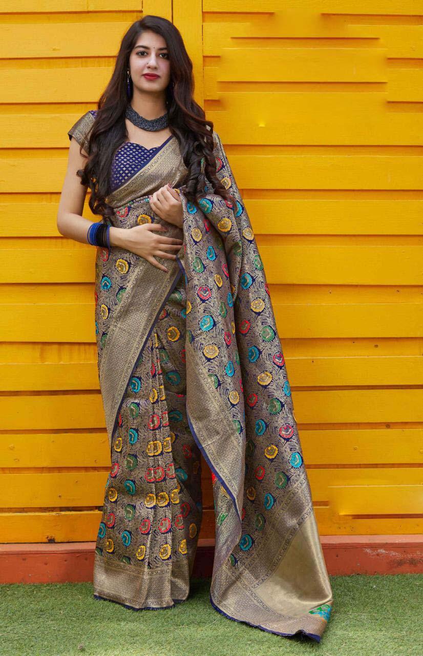 New trend designer gray color party wear silk saree online