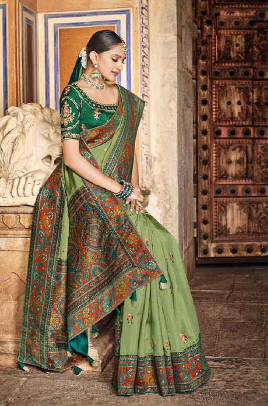 New trend designer light green color saree with an embroidered blouse