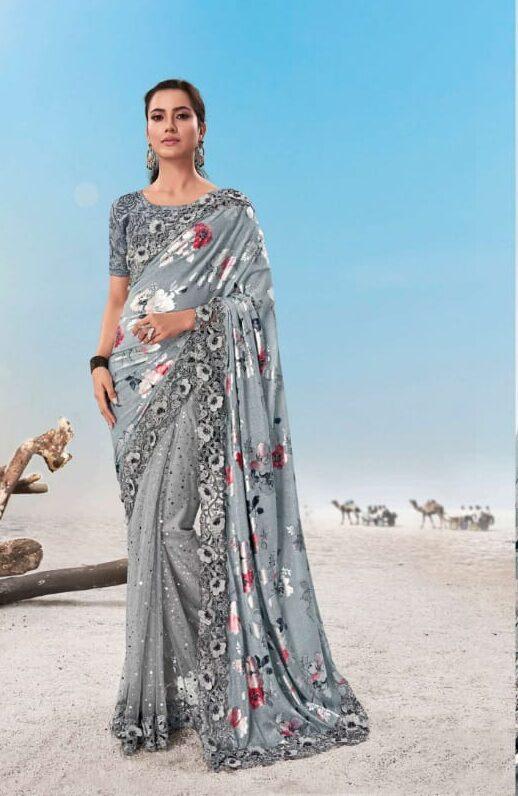 New trend designer light grey heavy work saree online