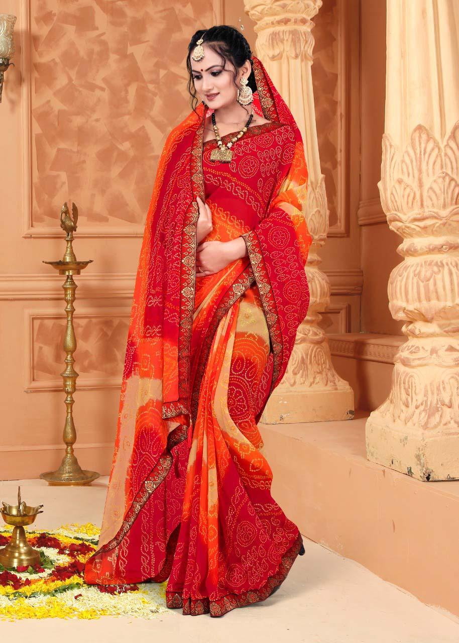 New trend designer multi-color casual wear silk saree online
