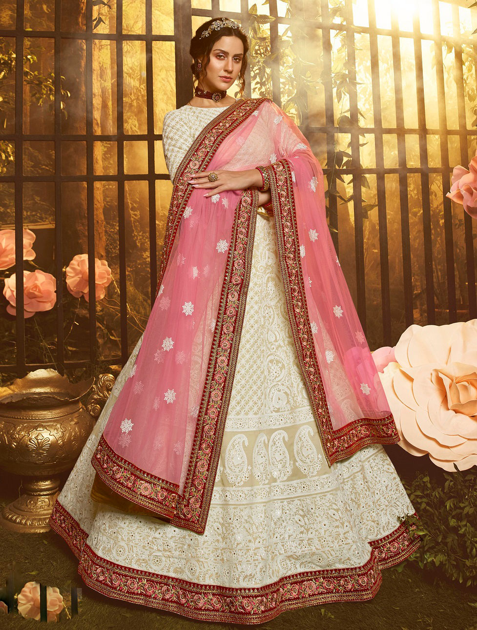 New trendy designer white color gown with pink color soft net dupatta