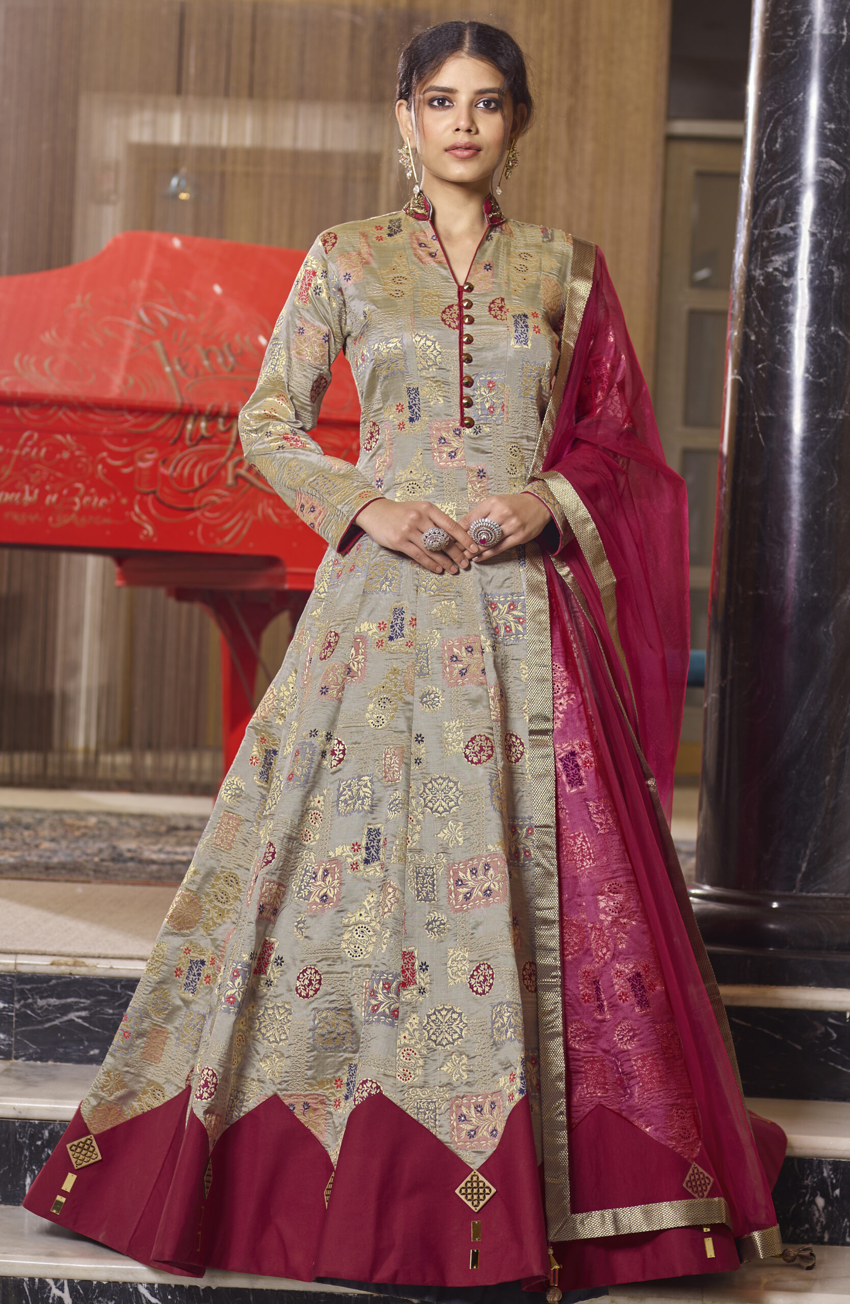 Party Wear Plum with Olive Combination Gown Anarkali