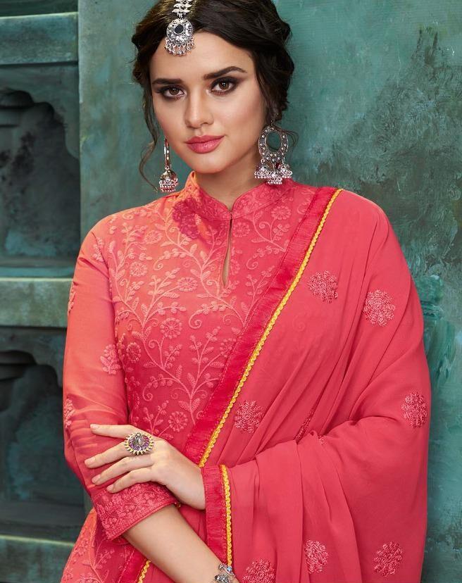 Hot Pink Colour Salwar Suits Pattern Lakhnavi