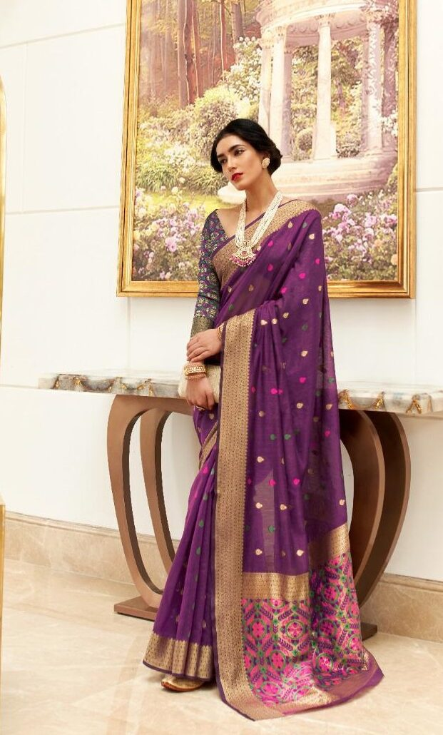 Best traditional look handloom weaving sarees with embroidery blouse