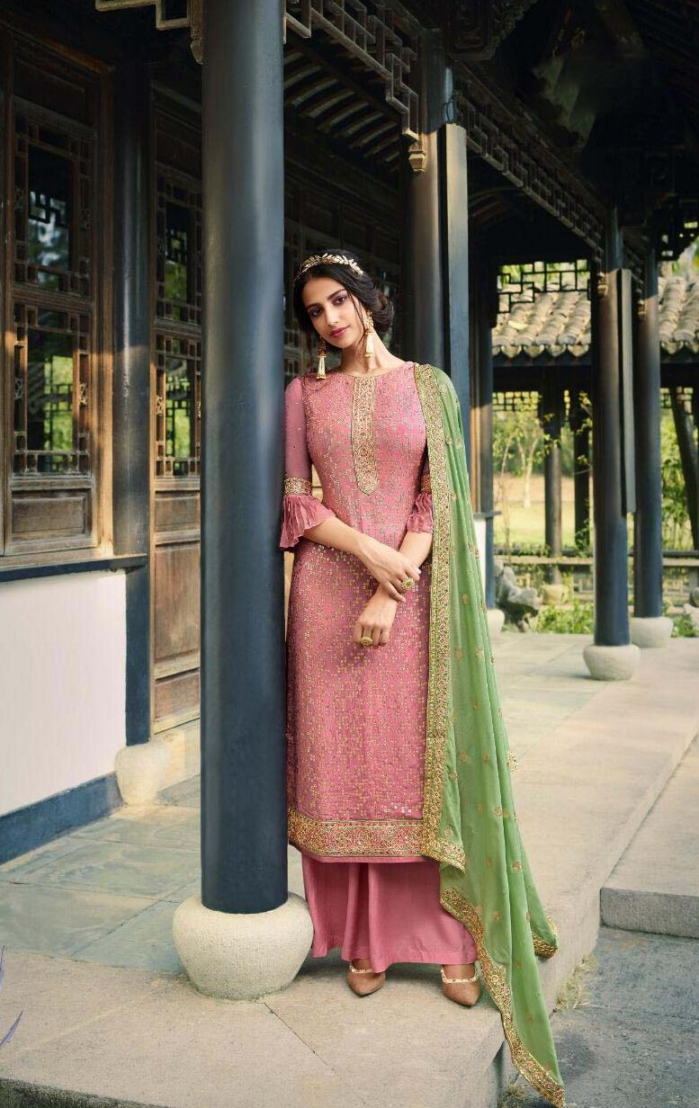New georgette pink color suit with pure chinnon four side border dupatta.