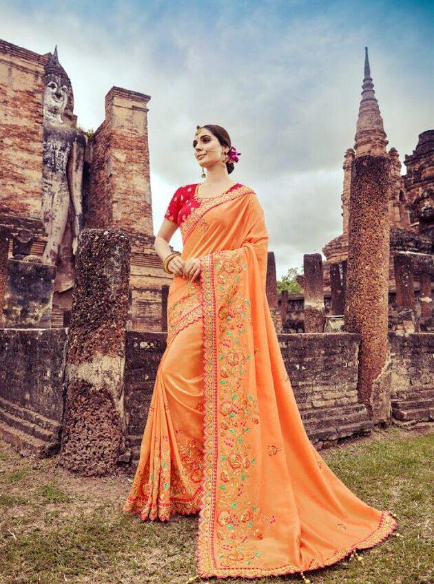 Best Georgette Light Orange Color Wedding Partywear Fancy Saree