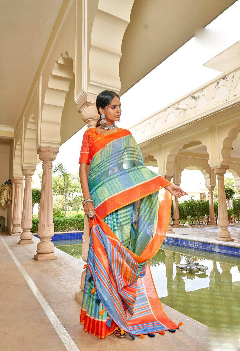 Best New Trend Designer SkyBlue Color Silk Saree With Online.