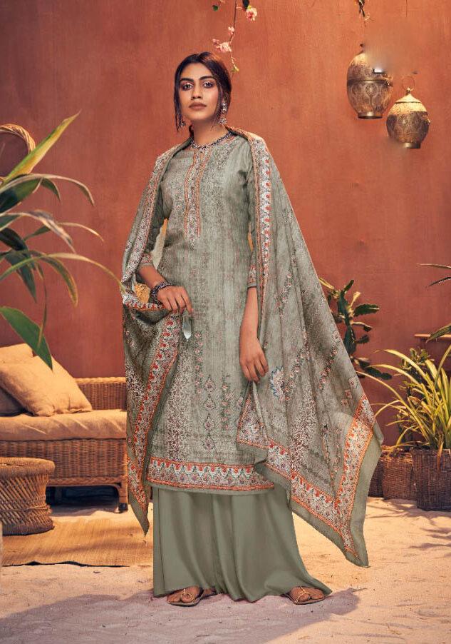 Best trendy Gray Color pashmina salwar kameez for the bride