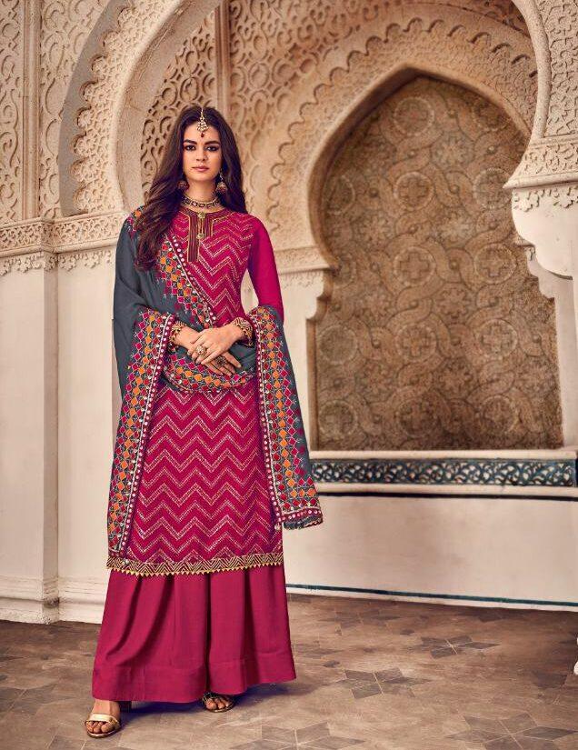 Dark Magenta Colour Combination Suit with Sharara