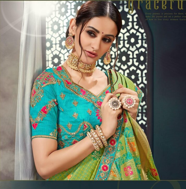 Designer Green Wedding Saree with Sky Blue Blouse online shopping