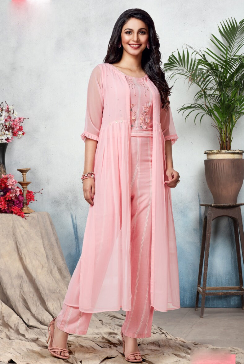 Latest Designer Indian Jumpsuit With Long Jacket Hot Pink