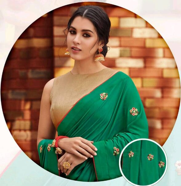 Latest Designer Sarees for Wedding in Green with Gold Blouse