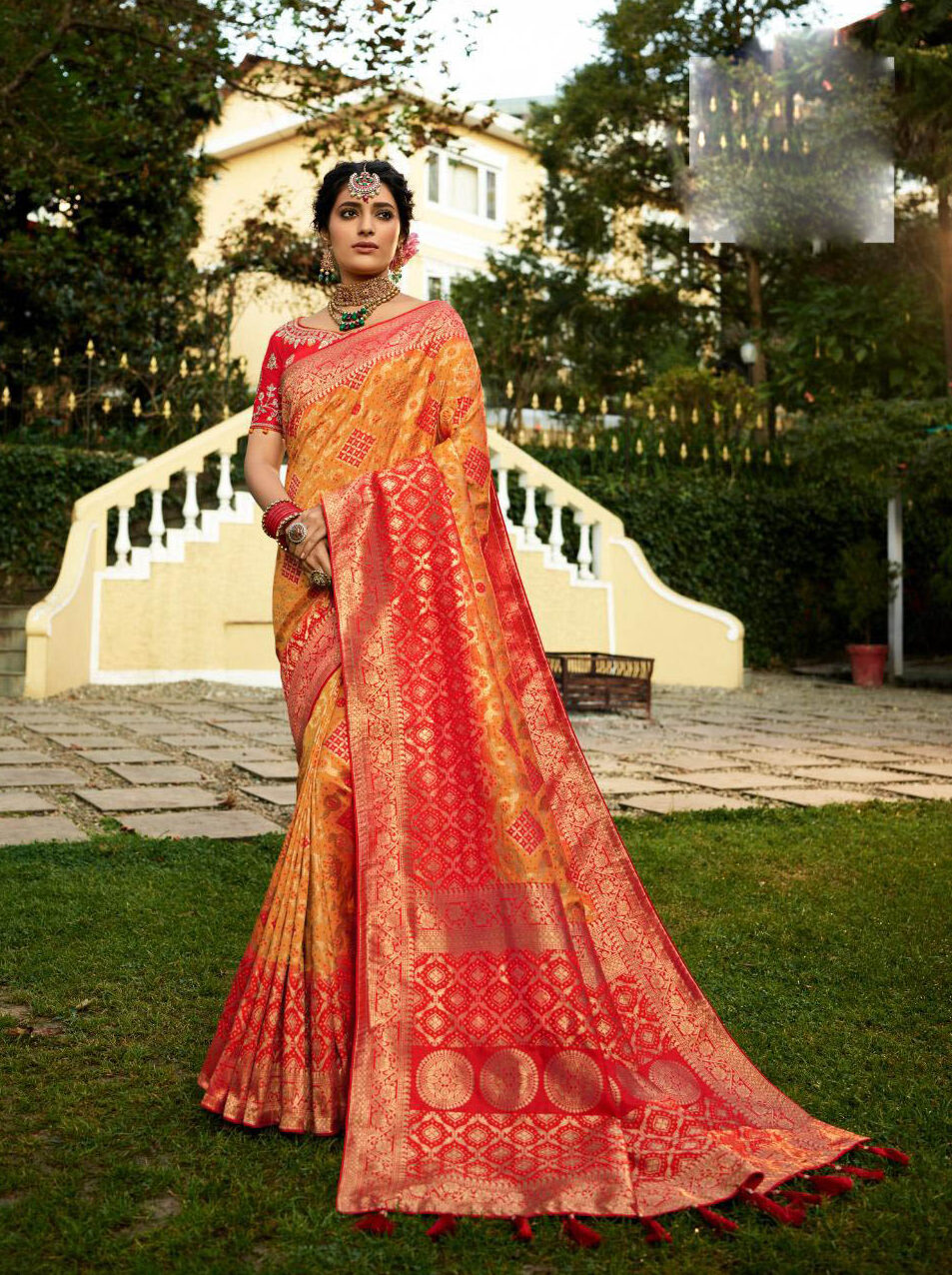 Latest Update Orange Color Banarsi Silk Saree Cost