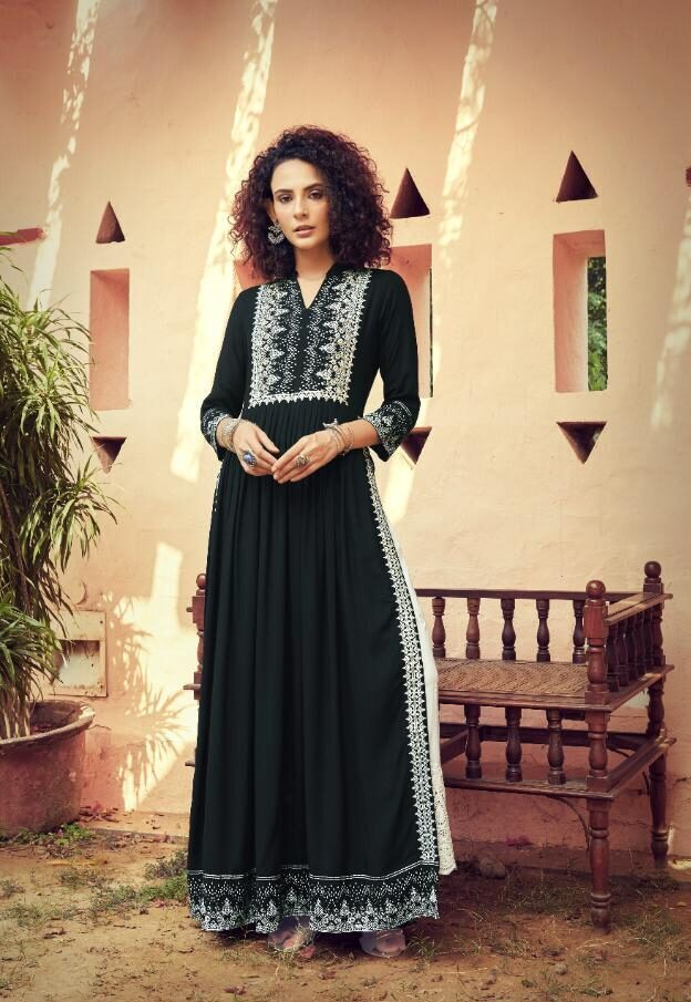 Lucknavi Readymade Long Kurta Palazzo Suits in Khaki Colour