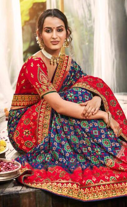 New Designer Red Blue Combination Latest Wedding Sarees Collection 2020