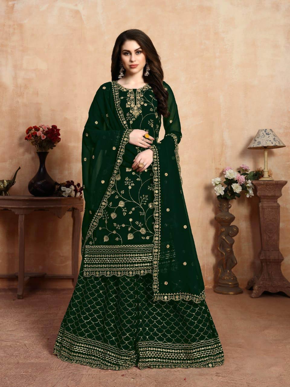 New Inventer Light Green Color Punjabi Sahara Salwar Suit.