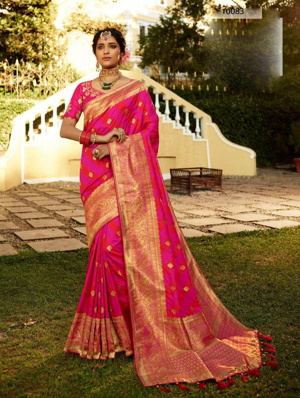 New Latest Update Pink Color Heavy Border Banarsi Silk Saree