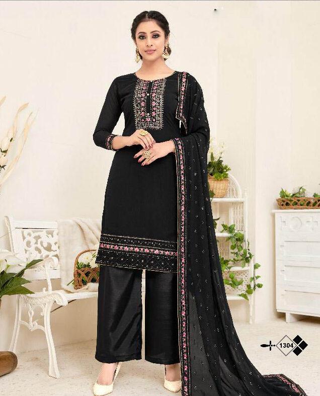 New Mode Maker Black Color Punjabi Suit For Girls.