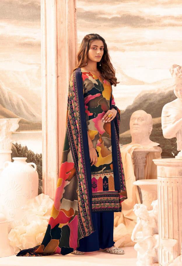 New Trend Designer Dark Blue Color Pure Pashmina Suit.