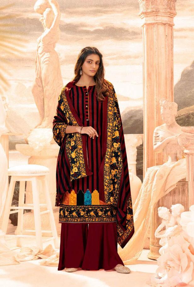 New Trend Designer Dark Brown Color Pure Pashmina Suit.