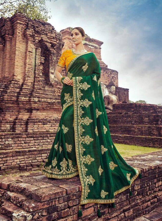 New Trend Designer Green Color Wedding Saree Collection