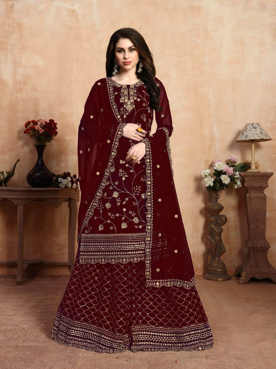 New Trend Designer Red Color Punjabi Salwar Kameez.