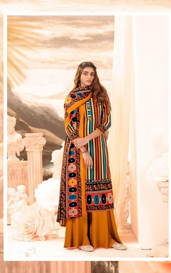 New Trend Designer Turmeric Color Pure Pashmina Suit.