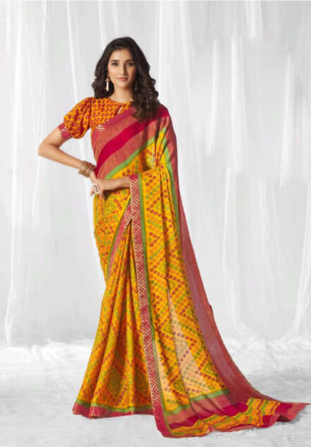 New Trend Designer Yellow Color Designer Saree With Blouse.