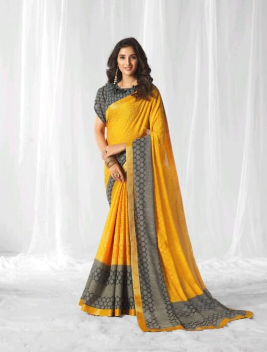 New Trend Designer Yellow Color Simple Saree With Blouse.
